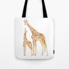 Mother and Baby Giraffes Tote Bag