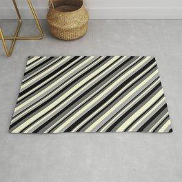 Dim Grey, Light Yellow, Dark Grey & Black Colored Striped Pattern Rug