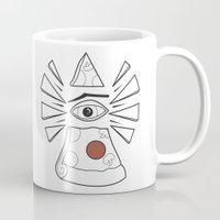 illuminati Mugs featuring PizzaPizza Illuminati by Pete Fowler