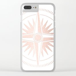 Rose Gold on White Compass Clear iPhone Case