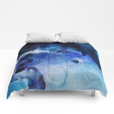 Indigo watercolor Comforters
