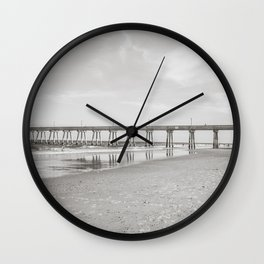 Johnny Mercer's Fishing Pier Wrightsville Beach NC Sepia Black and White Wall Clock
