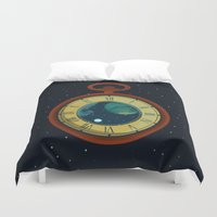 watch Duvet Covers featuring Cosmic Pocket Watch by badOdds