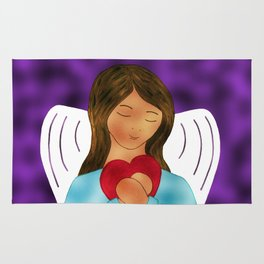 Angel With Heart Expressing You Are Loved By Annie Zeno Rug