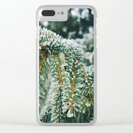Evergreen Branch with Snow (Color) Clear iPhone Case