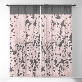 Splat Black on Blush Boarder 2 Sheer Curtain
