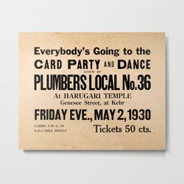 Party at the Plumbers Local No. 36 Metal Print
