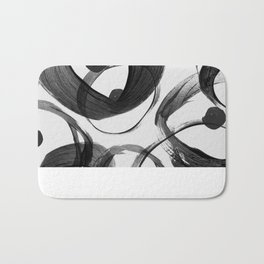 Trendy white black watercolor brushstrokes dots Bath Mat