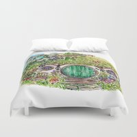 the hobbit Duvet Covers featuring Hobbit hole by Kris-Tea Books