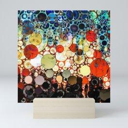 Contemporary Blue Orange Bubble Abstract Mini Art Print