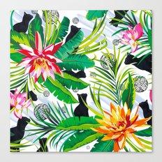 Pattern Cats between plants Canvas Print