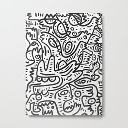 Graffiti Black and White Monsters are waiting for Halloween Metal Print