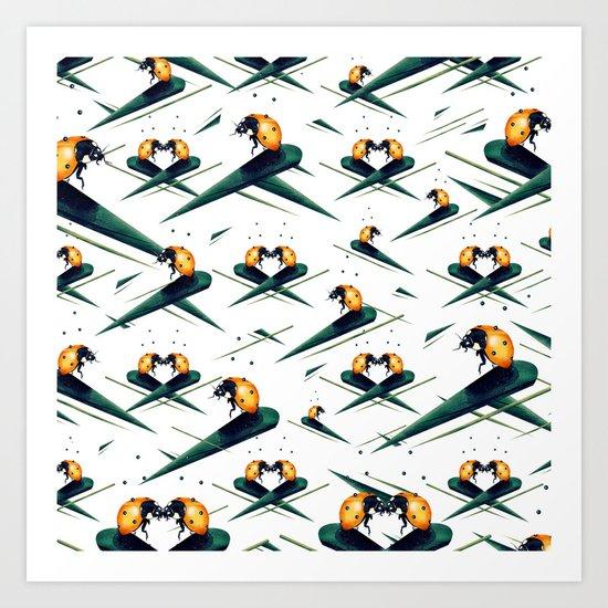 Bugs in Love (Pattern) Art Print