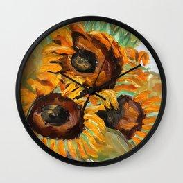 Sunflower, summer, art, original oil painting Wall Clock