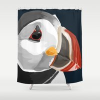 puffin Shower Curtains featuring Pablo the Puffin by eMJay Digital Art