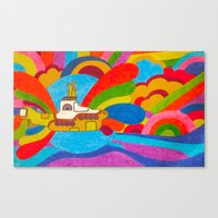 yellow submarine Canvas Prints featuring Yellow Submarine by Jaime Viens