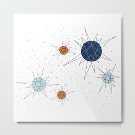 Atomic Stars Blue & Orange Metal Print