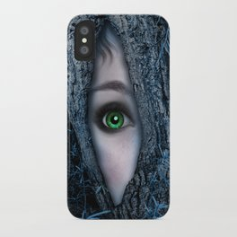 Big green eye in a blue tree iPhone Case