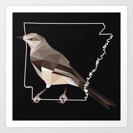 Arkansas – Northern Mockingbird (Black) Art Print
