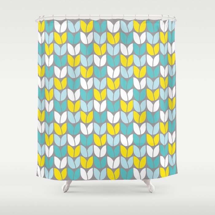 Tulip Knit Aqua Gray Yellow Shower Curtain
