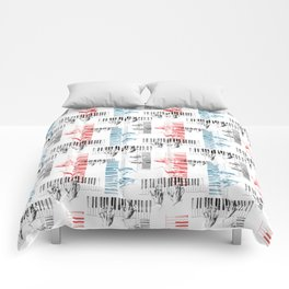 A piano pattern in black/red/blue Comforters