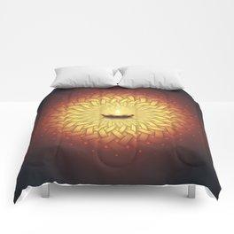 Сontemplation. Sacred geometry mandala, candle and lotus Comforters