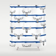 Moose Wallpaper Shower Curtain