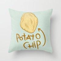 potato Throw Pillows featuring POTATO CHIP by Josh LaFayette