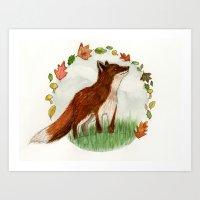 Fox named Autumn Art Print