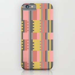 Gridwork in Coral and Yellow iPhone Case