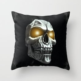 Skull with glowing yellow eyes Throw Pillow
