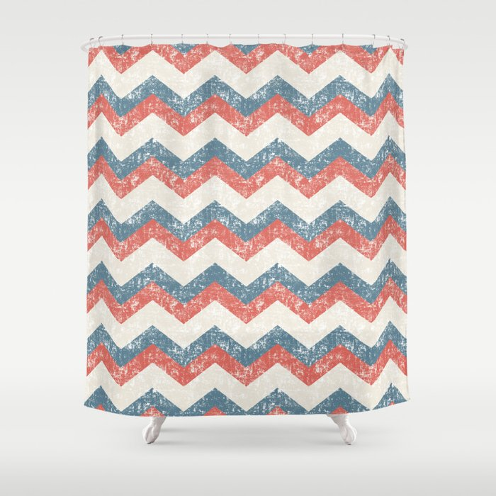 Maritime Navy Chevron ZigZag In Red White Blue Shower Curtain