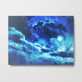 Blue on Moon Metal Print