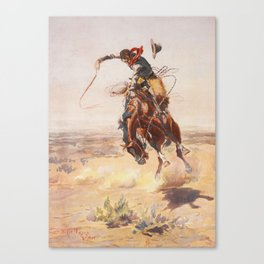 A Bad Hoss by Charles Marion Russell (c 1904) Canvas Print