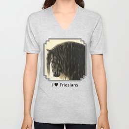 Black Friesian Draft Horse Unisex V-Neck