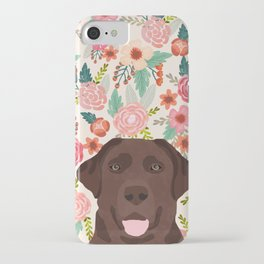 Chocolate Lab florals dog breed portrait pet art dog lover gifts labrador retriever iPhone Case