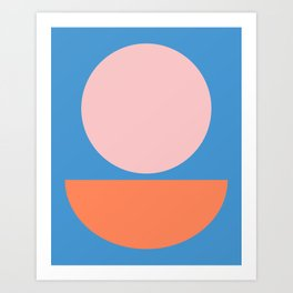 Big Shapes in Blush, Orange, and Blue Art Print