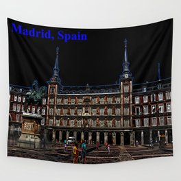 Neon Art of a plaza in Madrid, Spain Wall Tapestry