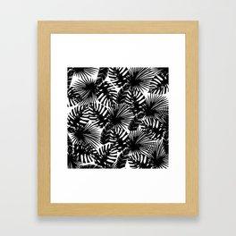 Modern black white watercolor tropical floral leaves Framed Art Print