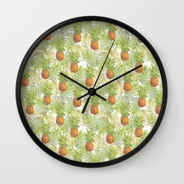 Watercolor tropical pineapple pattern Wall Clock