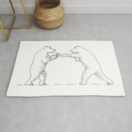 Two Grizzly Bear Boxers Boxing Drawing Rug
