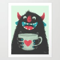 coffee Art Prints featuring Demon with a cup of coffee by Lime