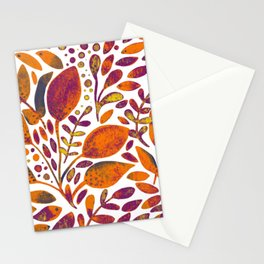 Watercolor branches and leaves - orange and purple Stationery Cards