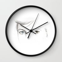 bowie Wall Clocks featuring bowie by Beth Jorgensen