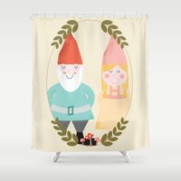 gnome Shower Curtains featuring Gnome Sweet Gnome by Beth Laird
