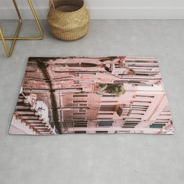 Venice pink canal with old buildings travel photography Rug