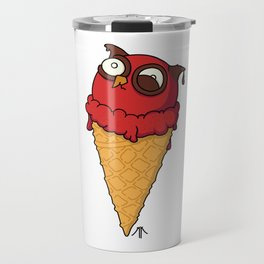 Owl cream cone with strawberry flavour Travel Mug