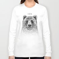 i like you Long Sleeve T-shirts featuring I Like You (Bear) by Rachel Caldwell
