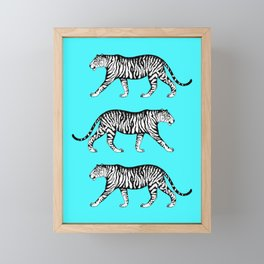 Tigers (Blue and White) Framed Mini Art Print