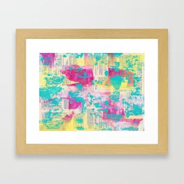 Abstract Mixed Media - Neon Framed Art Print
